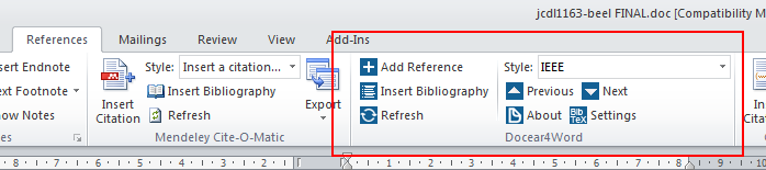 """Docear4Word in the """"References"""" ribbon of Microsoft Word 2010"""