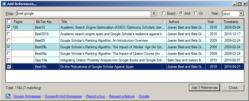 Docear4Word: Add BibTeX reference in Microsoft Word