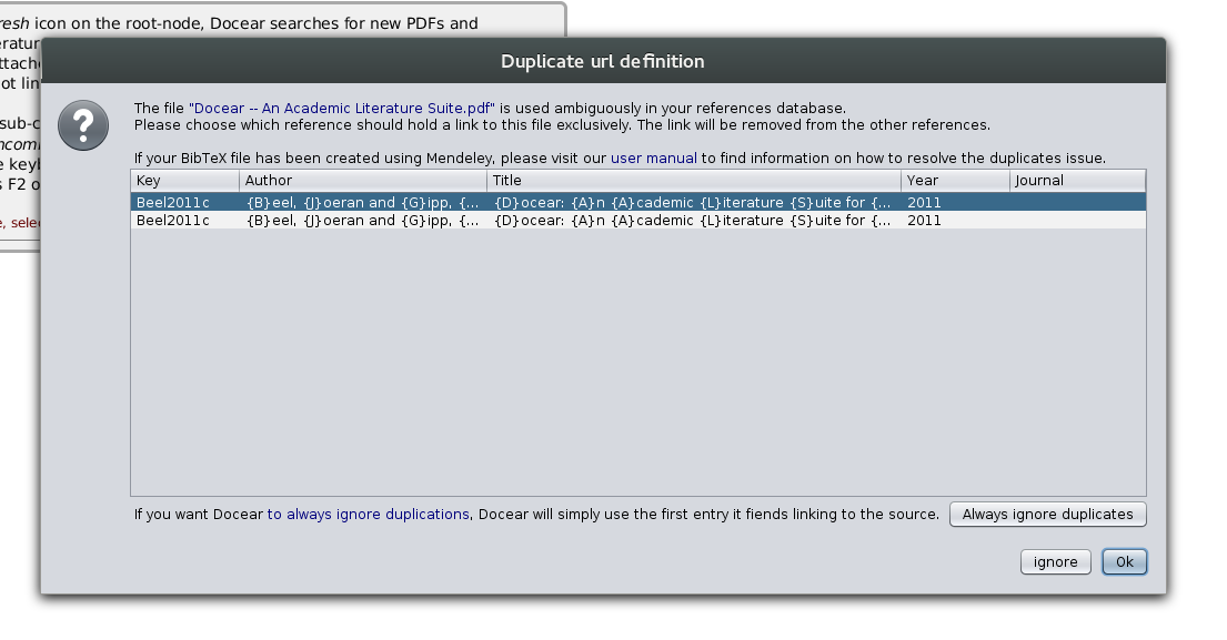 Warning dialog about duplicate references
